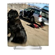 Dog In Front Of A Climbers Car Shower Curtain