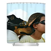 Dog Is My Co-pilot Shower Curtain by Laura Fasulo