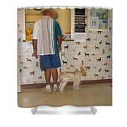 Dog Owner Dog Vet's Office Casa Grande Arizona 2004 Shower Curtain by David Lee Guss