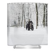 Dog Running In The Snow Shower Curtain