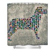 Dog Silhouette Digital Art Shower Curtain