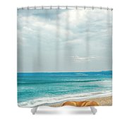 Dog Sleeping On Beach Shower Curtain