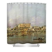 Doges Palace And View Of St. Marks Basin, Venice Oil On Canvas Shower Curtain