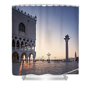 Doges Palace At Sunrise Venice Italy Shower Curtain by Matteo Colombo