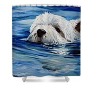 Doggie Paddle Shower Curtain