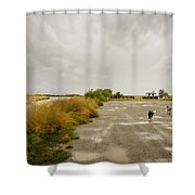 Dogs And Truck On A Muddy Dirt Road Shower Curtain