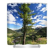 Dolomites - Tree Over The Valley Shower Curtain
