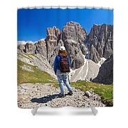 Dolomiti - Hiker In Sella Mount Shower Curtain