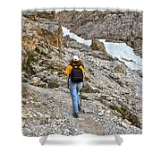 Dolomiti - Hiker In Val Setus Shower Curtain