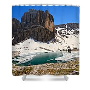 Dolomiti - Pisciadu Lake Shower Curtain