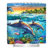 Dolphin Bay Shower Curtain by Adrian Chesterman