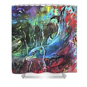 Dolphin Dives Shower Curtain