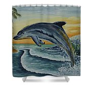 Dolphin Jumping Shower Curtain