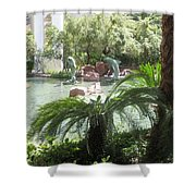 Dolphin Pond And Garden Green Shower Curtain