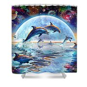 Dolphins By Moonlight Shower Curtain by Adrian Chesterman