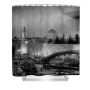 Dome Of The Rock -- Black And White Shower Curtain