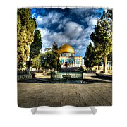 Dome Of The Rock Hdr Shower Curtain by David Morefield