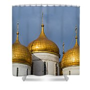 Domes Of The Dormition Cathedral Of Moscow Kremlin - Square Shower Curtain