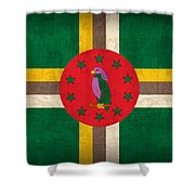 Dominica Flag Vintage Distressed Finish Shower Curtain