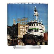Domino Sugars Baltimore With A Boat Shower Curtain