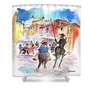 Don Quijote And Sancho Panza Entering Toledo Shower Curtain