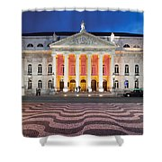 Dona Maria II National Theater At Night In Lisbon Shower Curtain