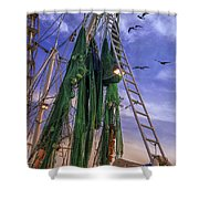Done Shrimping At Tybee Island Shower Curtain
