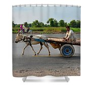 Donkey Cart Driver And Motorcycle On Pakistan Highway Shower Curtain