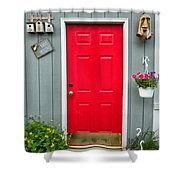 Donna's Red Friendship Door Shower Curtain