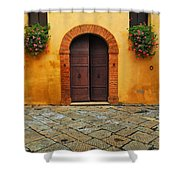 Door And Flowers In A Tuscan Courtyard Shower Curtain