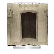 Door And Pillars  B And W Shower Curtain