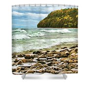 Door County Porcupine Bay Waves Shower Curtain