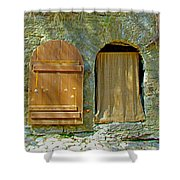 Door In Walkway Wall In Old Town Tallinn-estonia Shower Curtain
