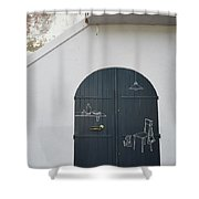 Door With Drawings Shower Curtain