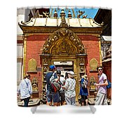 Doorway In Bhaktapur Durbar Square In Bhaktapur-nepal Shower Curtain