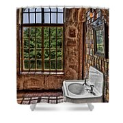 Dorm Bathroom Side View Shower Curtain