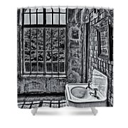 Dormer Bathroom Side View Bw Shower Curtain