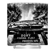 Dory Fishing Fleet Sign Picture In Newport Beach Shower Curtain