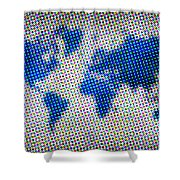 Dotted Blue World Map Shower Curtain