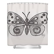 Dotted Butterfly Shower Curtain