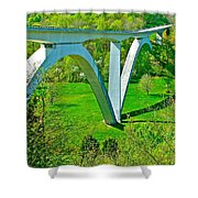 Double-arched Bridge Spanning Birdsong Hollow At Mile 438 Of Natchez Trace Parkway-tennessee Shower Curtain