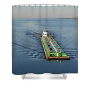 Double Barge On Calm Santa Rosa Sound From Navarre Bridge At Sunrise Shower Curtain