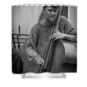 Double Bass Player Shower Curtain by David Morefield