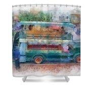 Double Decker Bus Main Street Disneyland Photo Art 01 Shower Curtain