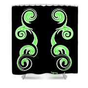 Double Green Swirl Shower Curtain