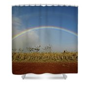 Double Rainbow Over A Field In Maui Shower Curtain