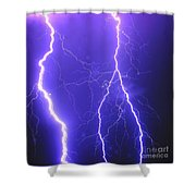 Double Triple Blue Lightning Shower Curtain