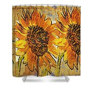 Double Yellowed Shower Curtain