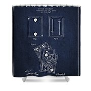 Dougherty Playing Cards Patent Drawing From 1876 - Navy Blue Shower Curtain