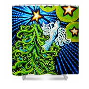 Dove And Christmas Tree Shower Curtain